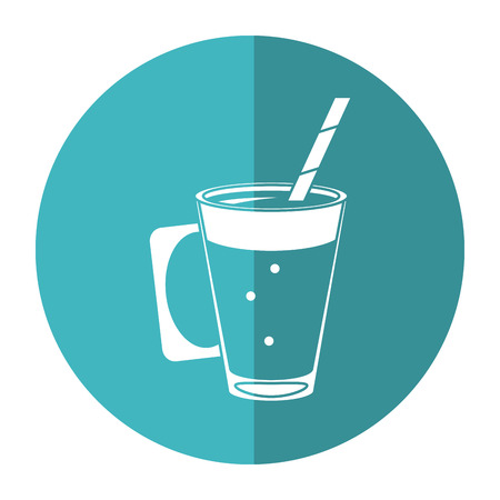 mocca coffee cup cream straw drink - round icon vector illustration eps 10 Illustration