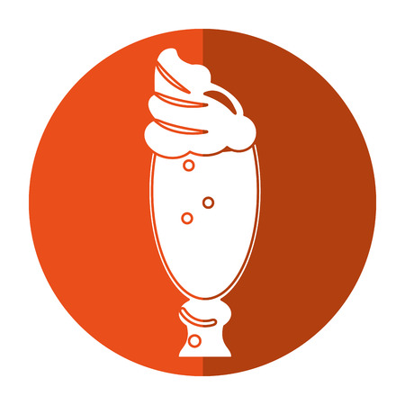 glass cup latte coffee cream-circle icon shadow vector illustration