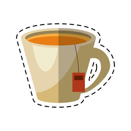oregano: tea hot cup herb aromatic - dot line vector illustration eps 10 Illustration