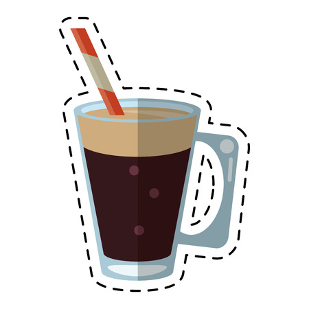 mocca: mocca coffee cup cream straw drink - dot line vector illustration eps 10