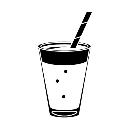 mocca coffee cup cream straw drink pictogram vector illustration eps 10