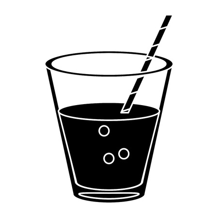 glass cup fresh drink with straw pictogram vector illustration eps 10