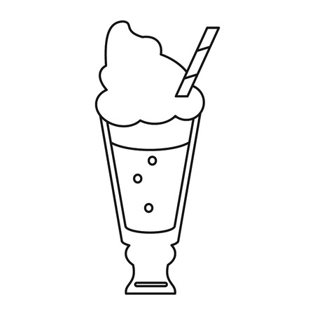 glace: glass cup drink cream glace straw fresh thin line vector illustration eps 10 Illustration