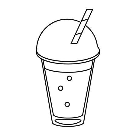 frappe coffee straw take out container thin line vector illustration eps 10