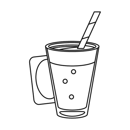 mocca coffee cup cream straw drink thin line vector illustration eps 10