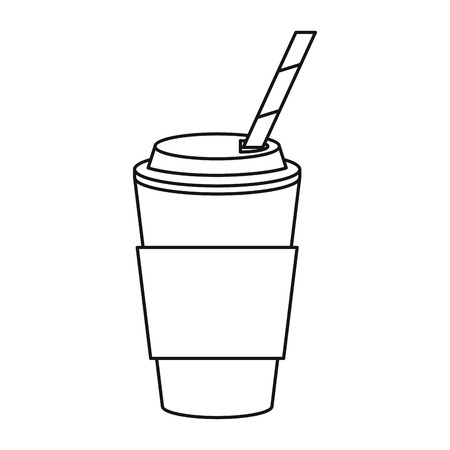 cup coffee take away with cap straw thin line vector illustration Ilustração