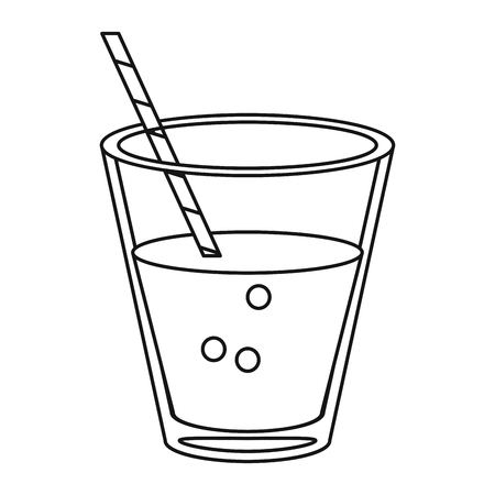 glass cup fresh drink with straw thin line vector illustration