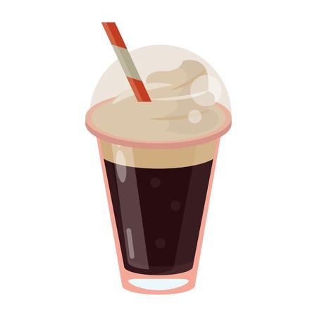 café frappé paille sortir illustration vectorielle conteneur
