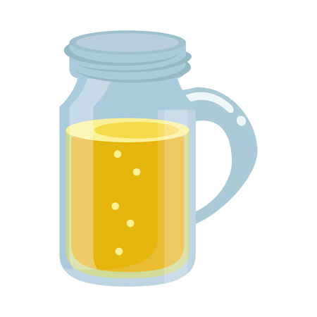 glass jar drink tasty bubble with cap vector illustration