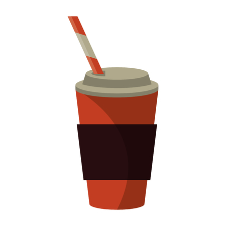 out of shape: cup coffee take away with cap straw vector illustration
