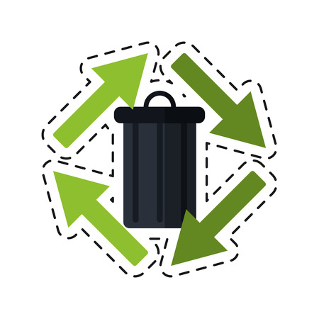 cut line: trash can garbage arrow environment recycle -cut line vector illustration
