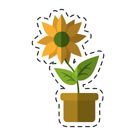flower pot leaves garden nature -cut line vector illustration