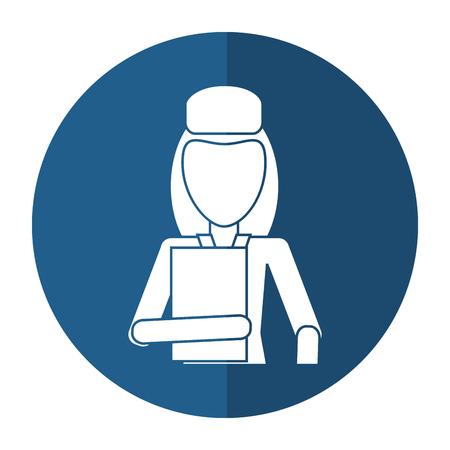 woman hat employee holding folder shadow vector illustration eps 10