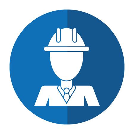 business man helmet construction manager shadow vector illustration