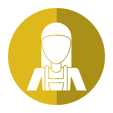 woman shadow: worker woman carpentry helmet shadow vector illustration