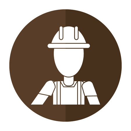 shoe repair: construction man helmet box shadow vector illustration