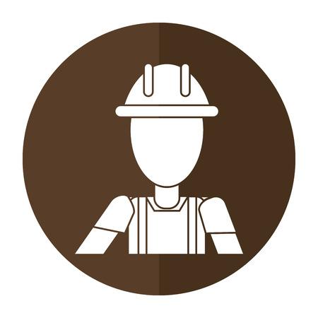 construction man helmet box shadow vector illustration