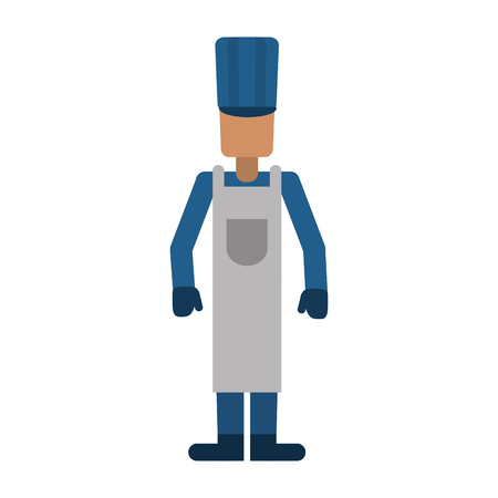 plant stand: avatar man hat apron gloves worker vector illustration