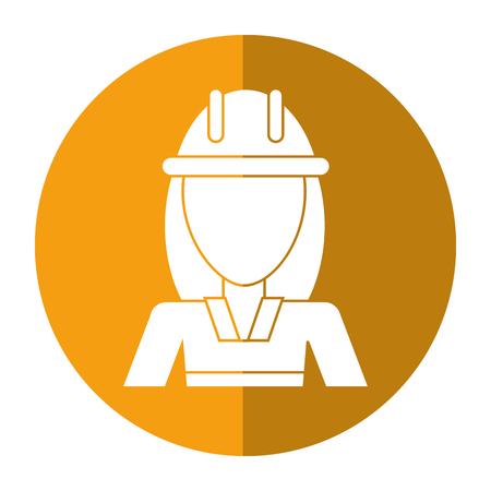 woman shadow: woman construction worker helmet shadow vector