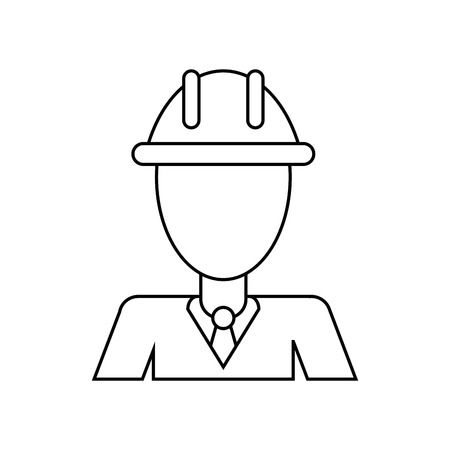 business man helmet contruction manager thin line vector illustration