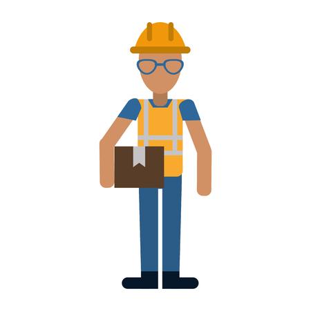 construction man glasses helmet box vector illustration Illustration