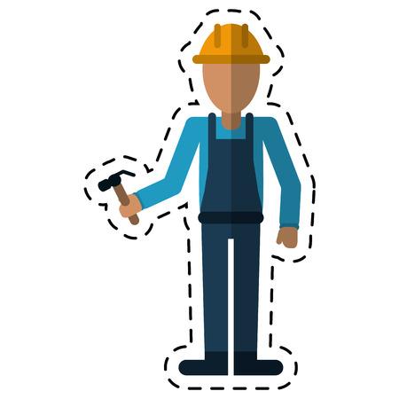 drive nail: avatar construction man hammer helmet employee cutting vector illustration