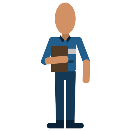 avatar man work employee with clipboard