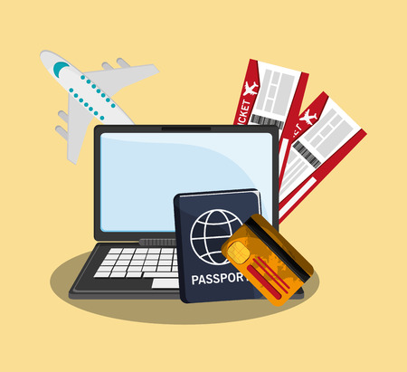 vacation with laptop: laptop computer, airplane and passport over yellow background. travel and tourism concept. colorful design. vector illustration