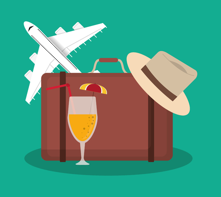 briefcase, airplane, cocktail and hat. travel and tourism concept. colorful desing. vector illustration Illustration