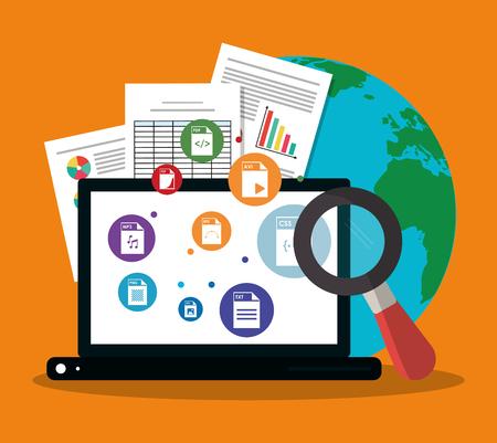 laptopcomputer, aardeplaneet en vergrootglas over oranje achtergrond. kleurrijk ontwerp. vectorillustratie Vector Illustratie