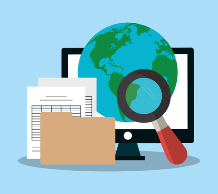 computer monitor, earth planet and document pages over blue background. colorful design. vector illustration