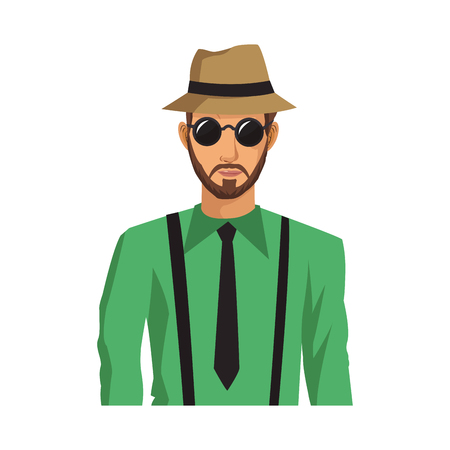 man cartoon with hipster style over white background. colorful design. vector illustration
