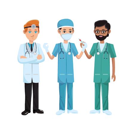 group of medical doctors and nurse over white background. colorful design. vector illustration Illustration