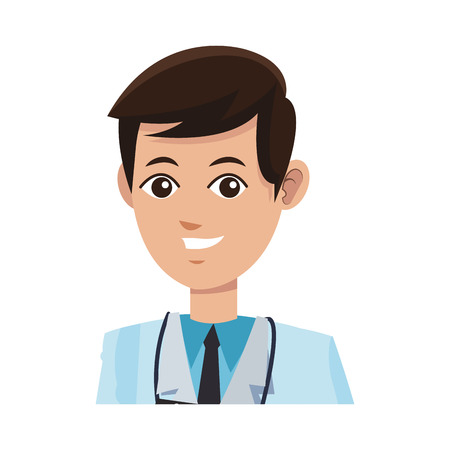 man medical doctor cartoon icon over white background. colorful desing. vector illustration
