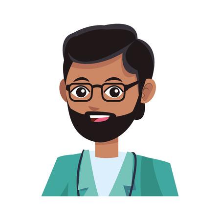man medical nurse cartoon icon over white background. colorful desing. vector illustration