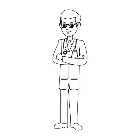 man medical doctor cartoon icon over white background. vector illustration Illustration