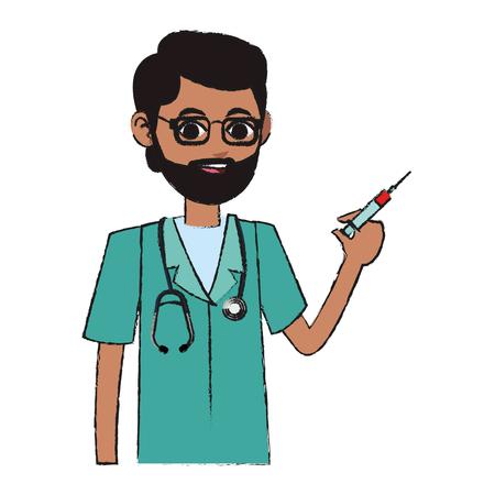 man medical nurse cartoon icon over white background. colorful design. vector illustration