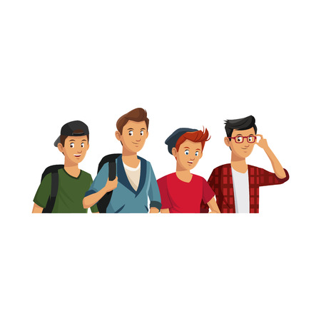 young guys wearing casual clothes over white background. colorful desing. vector illustration