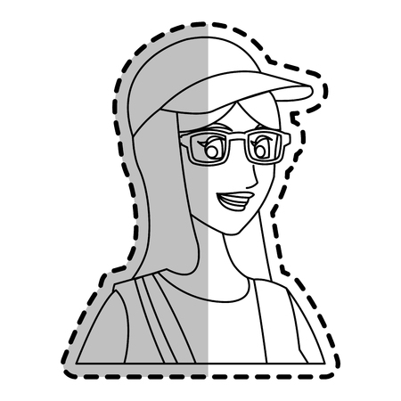girl wearing glasses: young girl wearing a cap and glasses over white background. vector illustration