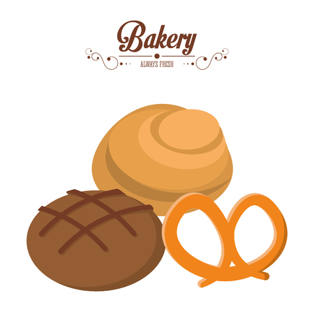 bakery integral bread and roll pretzel always fresh vector illustration
