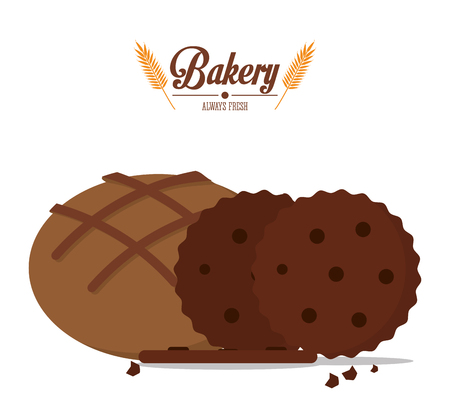 bakery cookies and integral bread always fresh vector illustration