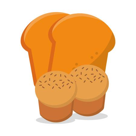 homemade bread: muffin sliced bread fresh and nutrition breakfast vector illustration