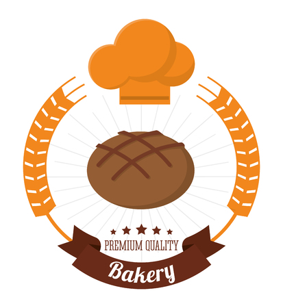 bakery integral bread chef hat premium quality label vector illustration