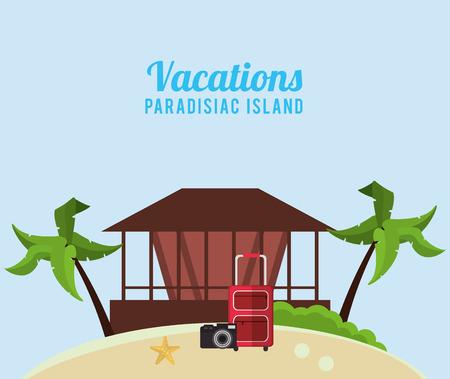 vacations paradise land hut suitcase camera vector illustration