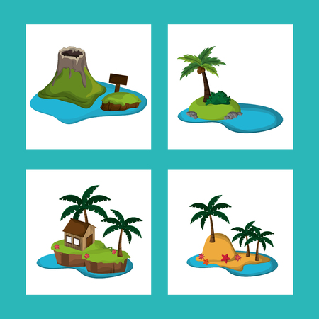 collection Paradise island tourism relax adventure vector illustration