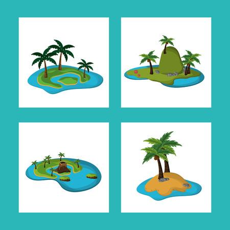 collection Paradise island tropical Caribbean vector illustration