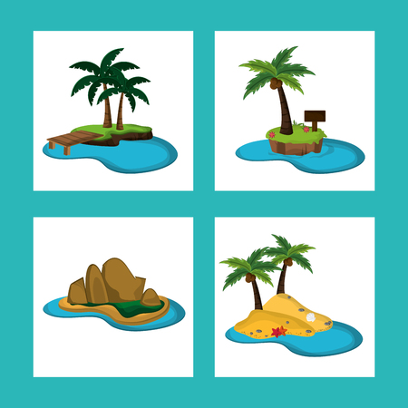 corsica: collection Paradise island natural ocean vector illustration
