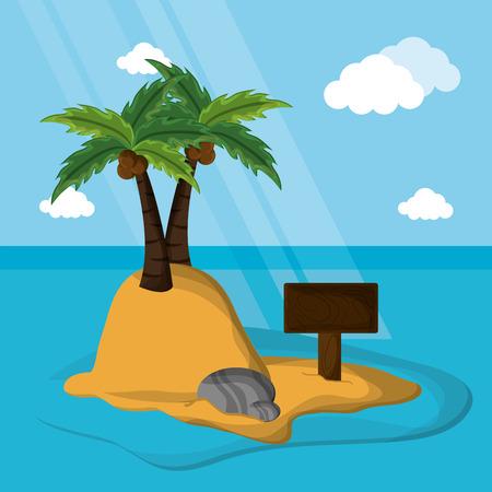desert island palm coconut rock sand vector illustration