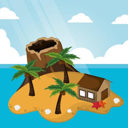 tropical volcano hut palm tree sunlight starfish sand vector illustration