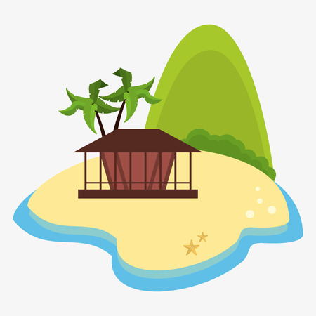 mountain island hut palm tree desert vector illustration